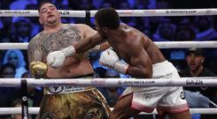 Anthony Joshua, right, fought Andy Ruiz Jr in Riyadh at the weekend (Hassan Ammar/AP)