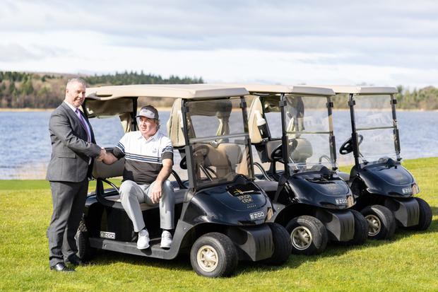 Driving on: Damian Mooney, Lough Erne's new PGA Professional (right), with Operations Manager Barry McCauley