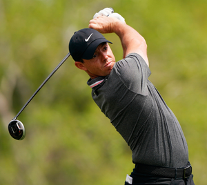 Driving on: Rory McIlroy tees off in Austin