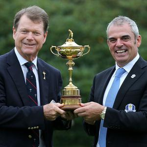 Paul McGinley, right, expects the Ryder Cup to be 'a heavyweight contest'