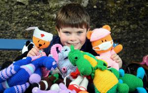 Daniel Simms from Newtownabbey with an example of his crochet creations