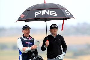 Eddie Pepperell (right) would have been without caddie Mick Doran at the US PGA Championship (Mike Egerton/PA)
