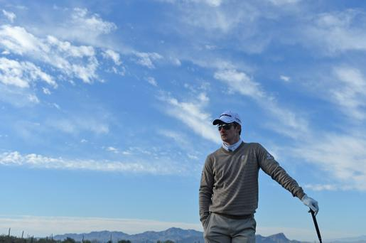 MARANA, AZ - FEBRUARY 19: Justin Rose of England ponders a shot during practice prior to the start of the World Golf Championships-Accenture Match Play Championship at the Ritz-Carlton Golf Club on February 19, 2013 in Marana, Arizona. (Photo by Stuart Franklin/Getty Images)