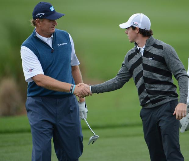 Ernie Els (left) said Rory McIlroy was 'a great kid' and he hoped everyone could 'move on'