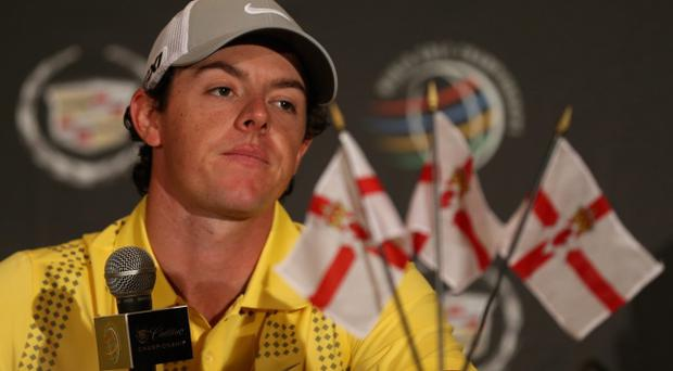 MIAMI, FL - MARCH 06: Rory McIlroy of Northern Ireland addresses the media ahead of the WGC - Cadilac Championship at the Doral Golf Resort & Spa on March 6, 2013 in Miami, Florida. (Photo by Warren Little/Getty Images)