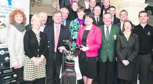 Tourism Minister Arlene Foster and Galgorm Castle owner Christopher Brooke with some of the NI Open sponsors