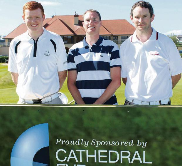 Andrew Owens (Castle Hume), Martin McAvoy (Lurgan) and Michael McHugh (Castleblayney) on the first tee.