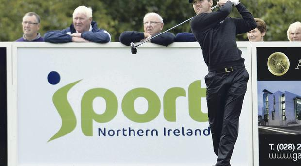 Big names: Michael Hoey in action in yesterday's Pro-Am at Galgorm Castle ahead of today's Northern Ireland Open Challenge