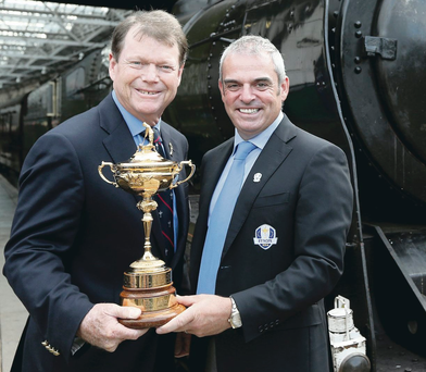 All aboard: Captains Tom Watson and Paul McGinley will hope to get their hands on the Ryder Cup next year