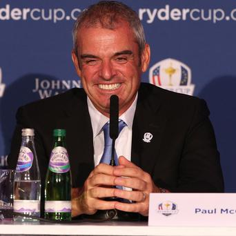 Paul McGinley, pictured, says Ian Poulter's Ryder Cup heroics are 'on a par' with Liverpool's 2005 Champions League win
