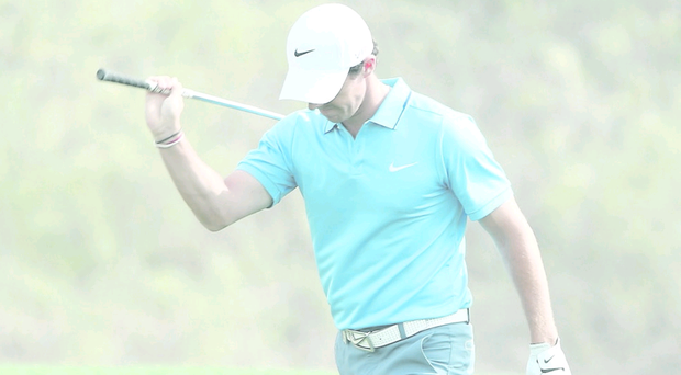 Rory McIlroy shows his frustration as he finishes second in Abu Dhabi