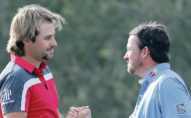 Big hand: Graeme McDowell has hailed his World Match Play conqueror Victor Dubuisson