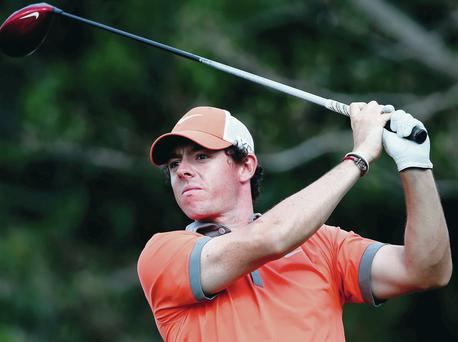 In the groove: Rory McIlroy at the 14th during his first round of the Honda Classic in Palm Beach Gardens, Florida