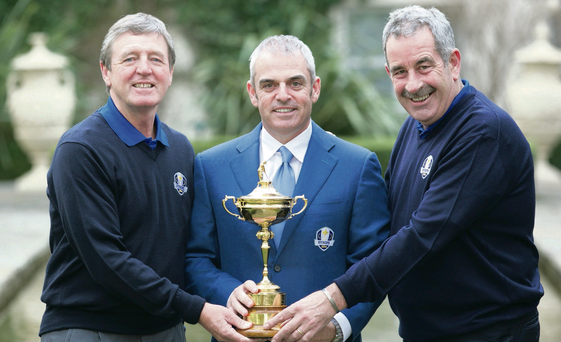 Ryder Cup skipper Paul McGinley unveils his vice-captains Des Smyth (left) and Sam Torrance