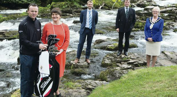 European Tour player Michael Hoey, Tourism Minister Arlene Foster, European Tour Commercial Director Mark Aspland, Galgorm Castle's Christopher Brooke and Ballymena Mayor Audrey Wales at yesterday's NI Open launch at Galgorm Castle