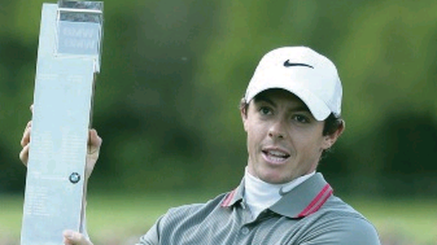 Taken as red: Rory shows off BMW PGA championship trophy