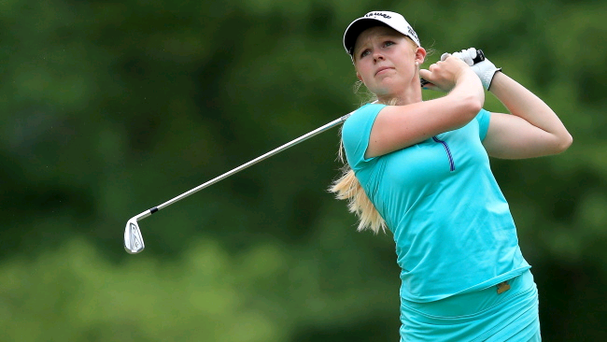 In the money: Stephanie Meadow sinks a putt at Pinehurst on way to £160,000 payday