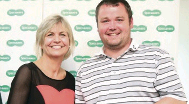 Winner: Valerie Penney, from Specsavers, with Aaron Grant