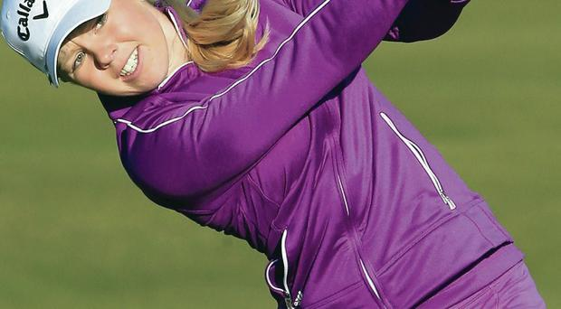 Bad day: Stephanie Meadow hits her second shot on the third hole in the first round of the Women's British Open at Royal Birkdale