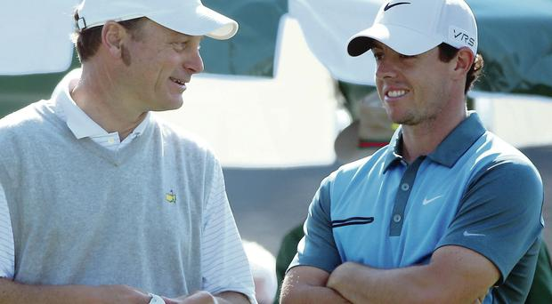 Best of friends: Rory McIlroy and Jeff Knox will join forces in Augusta next year