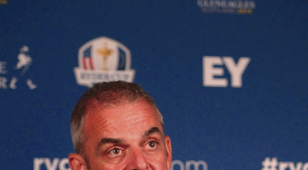 Tough call: Europe captain Paul McGinley reveals his wildcard picks to the media yesterday