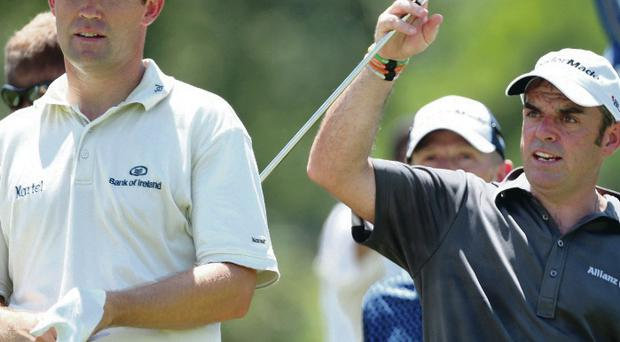 Join the club: Paul McGinley (right) has picked Padraig Harrington (left) as one of his Ryder Cup vice-captains