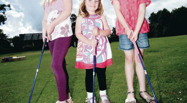 Stars of the future: Hannah Conway (8), Katie McCabe (4) and Grace Conway (6) from Newtownabbey launch the Irish Golf Expo's 'Cash back to Clubs' initiative