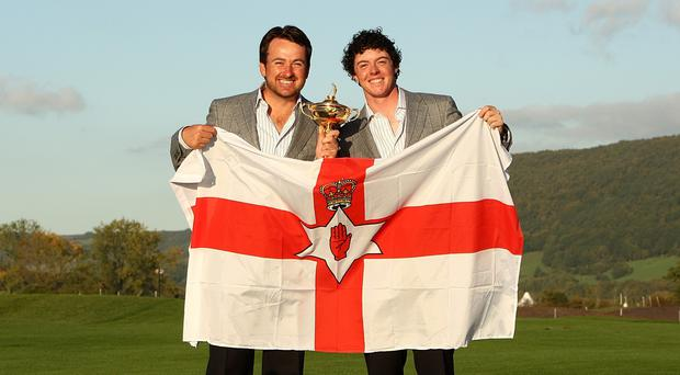 Graeme McDowell, left, and Rory McIlroy may not be paired together at Gleneagles