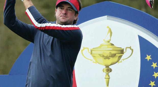 Getting ready: Bubba Watson practices at Gleneagles
