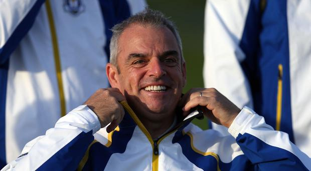 Paul McGinley reverted to three groups of four for Wednesday morning practice