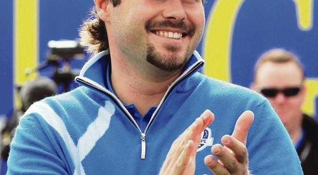 Relishing the moment: Victory Dubuisson yesterday