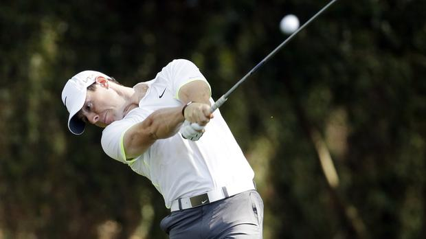 Rory McIlroy is seven shots off the pace at Augusta (AP)