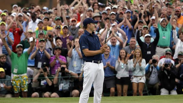 Jordan Spieth celebrates after winning the Masters (AP)