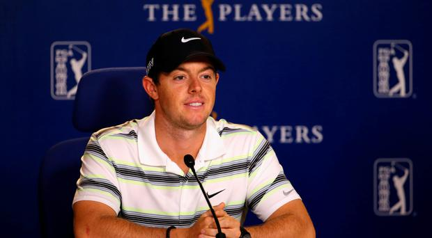 Good to talk: Rory McIlroy faces the media at Sawgrass, Florida yesterday ahead of The Players Championship which starts today