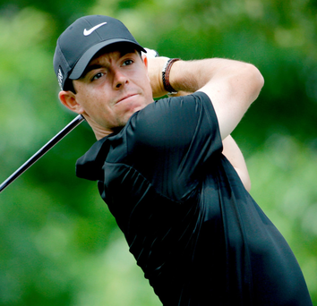 On form: Rory McIlroy on way to a second round five under par 67
