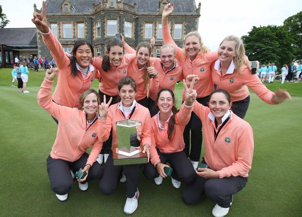 Prize girls: Team Europe celebrate winning the Vagliano Trophy at Malone Golf Club in Belfast