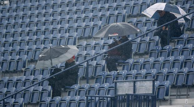 Heavy rain forced the suspension of play at St Andrews