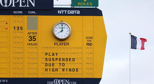High winds forced play to be suspended at St Andrews