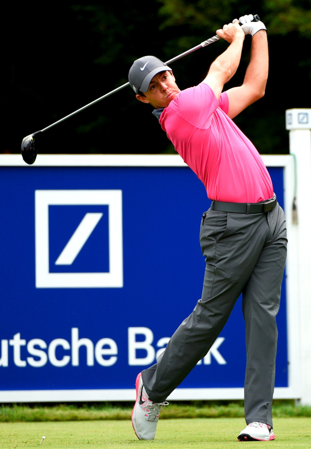 In the swing: Rory Mcllroy on the 14th tee during round one of the Deutche Bank Championship