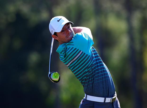 Rory McIlroy of Northern Ireland in action on the second hole during the first round of the Turkish Airlines Open