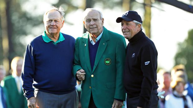 From left, Jack Nicklaus, Arnold Palmer and Gary Player at the ceremonial first tee (AP)