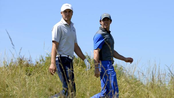 Rory McIlroy, right, and Jordan Spieth, left, will be the last pairing on Saturday