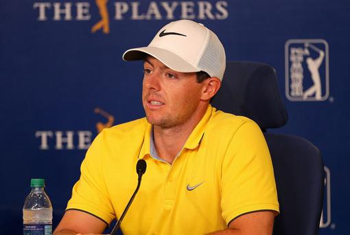 Title mission: Rory McIlroy addresses the media yesterday ahead of the Players Championship