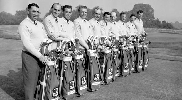 Christy O'Connor, third left, with Britain's 1955 Ryder Cup team