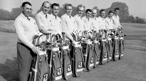 Christy O'Connor Sr, third left in 1955, died at the weekend, aged 91
