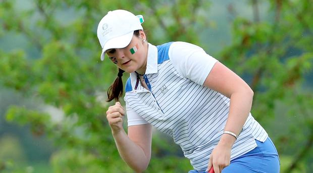 What a feeling: Olivia Mehaffey holes a birdie on 12th