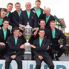 Ewen Ferguson, pictured celebrating with the rest of GB&I's winning Walker Cup team, is through to the last eight of the Amateur Championship
