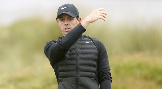 Northern Ireland's Rory McIlroy broke his three wood during a frustrating third round at Royal Troon