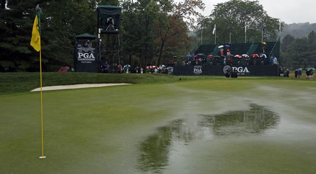 More than an inch of rain fell on Baltusrol overnight (AP)