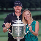 Happy family: Jimmy Walker and wife Erin with the Wanamaker Trophy after the American's success in the US PGA at Baltusrol